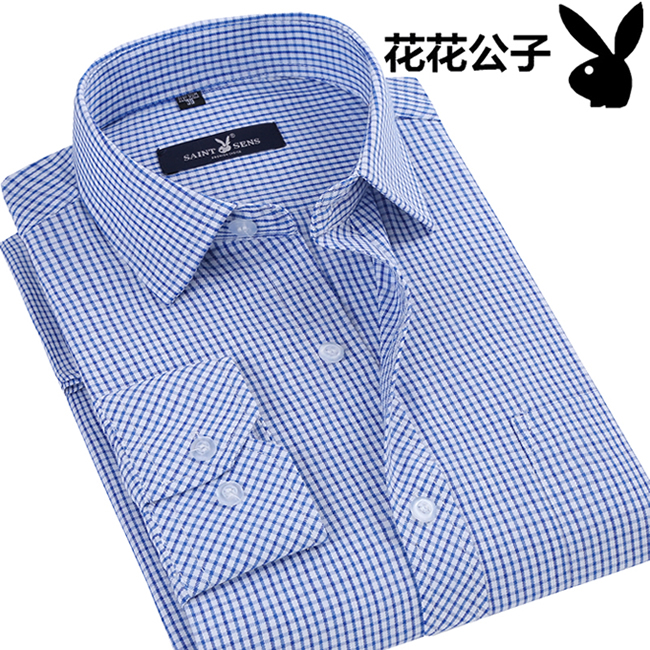 春夏新款长袖衬衫男中青年全棉寸衫商务休闲格子薄款衬衣服爸爸装