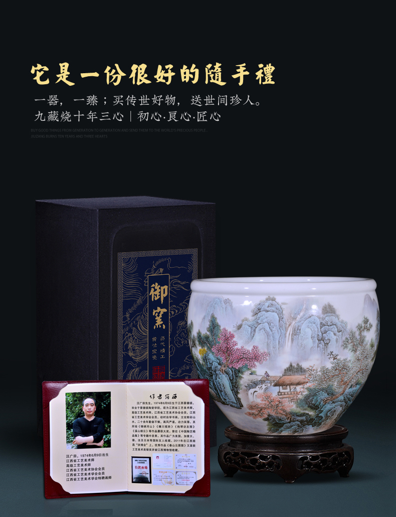 Jingdezhen ceramics hand - made pastel landscape tortoise calligraphy and painting cylinder home sitting room hotel is suing garden furnishing articles