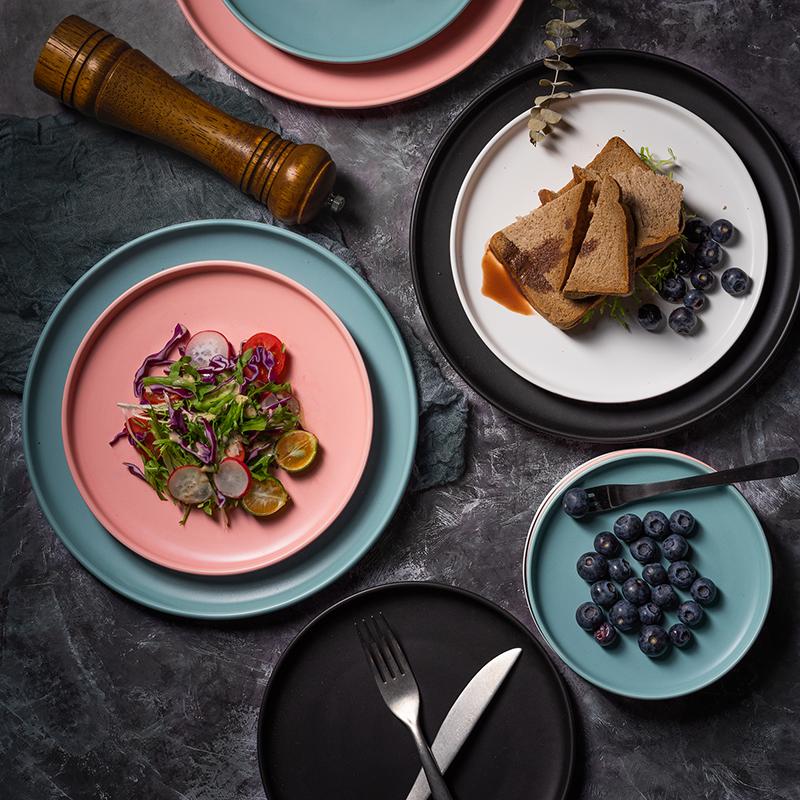 北歐ins風創意啞光陶瓷盤圓形西餐盤子牛排盤平盤家用菜盤蛋糕盤