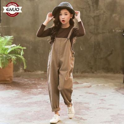 女童套装春秋2018童装新款秋装韩版儿童背带裤两件套中大童洋气潮