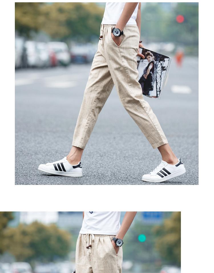 夏季大码休闲亚麻日系男士九分裤休闲裤中裤B313-K58-P30