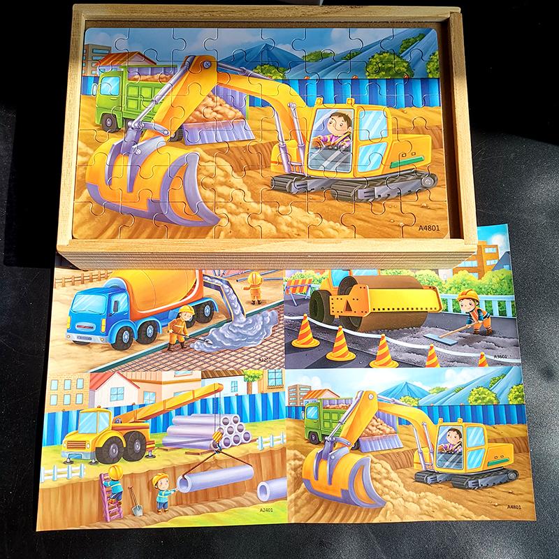 恐龙拼图木製儿童益智力早教男孩宝宝汽车交通工具挖土机岁详细照片