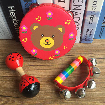 Children's handbells wooden string tambourine baby bell toys rattle sand ball 0-3-6-12 baby