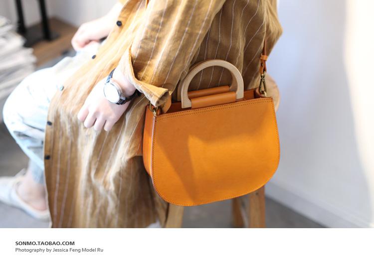 日式文艺复古女包贝壳包手工牛皮半圆形斜跨包单肩包木手柄手提包
