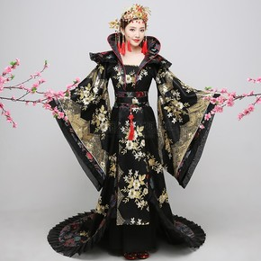 Ancient Costume Black luxury tailed Empress Wu Zetian imperial court dress Princess cross show Costume
