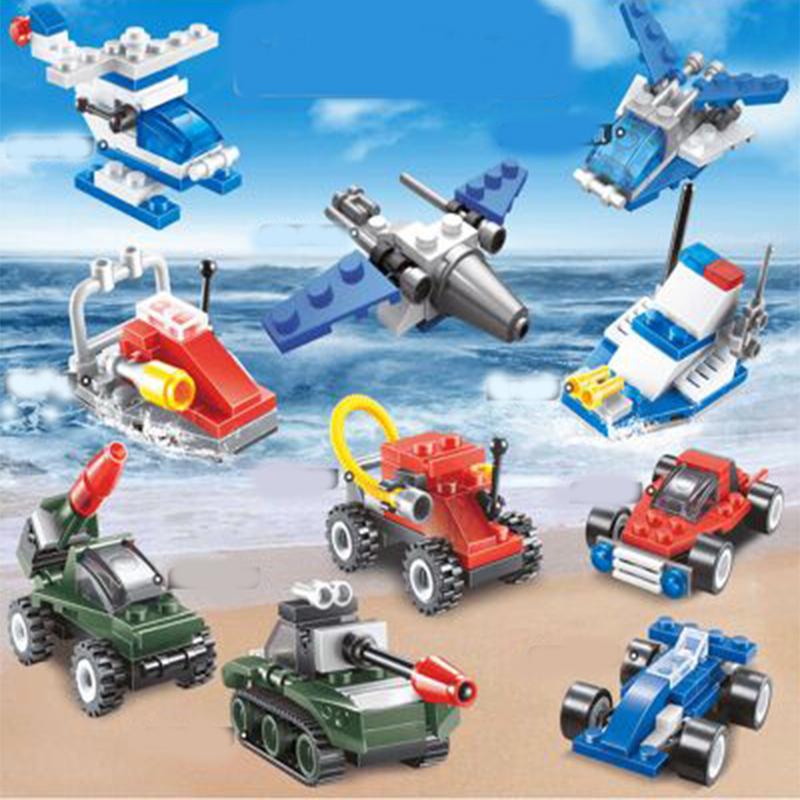 儿童拼装玩具男孩子6航母模型车益智警察人偶开发8智力小颗粒拼图