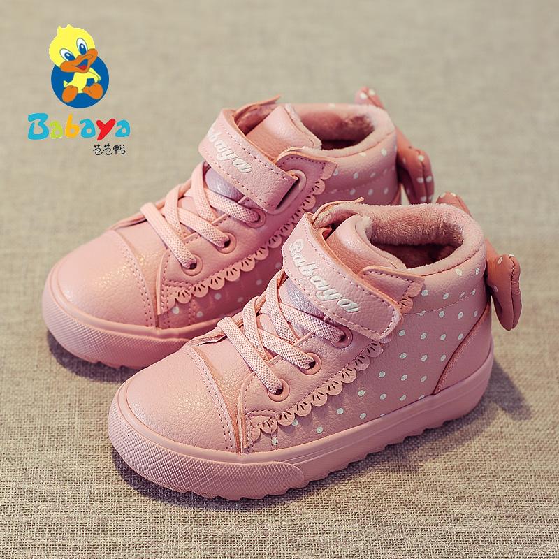 Barbie Duck 2018 зимний новая коллекция детские ботинки с утеплением замшевый удерживающий тепло на девочку хлопок кожаные сапоги водонепроницаемый для маленькой принцессы ботинки волна