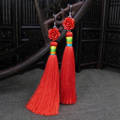 Bride red wedding retro long tassel earrings ethnic style no pierced ear clips Chinese style temperament earrings women