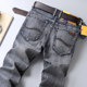 Men's jeans ENKOM LEE elastic waist slim straight summer thin section yards smoke gray jeans
