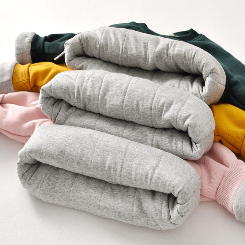 儿童三层夹棉加绒加厚卫衣宝宝保暖上衣冬装男女童套头打底衫韩版