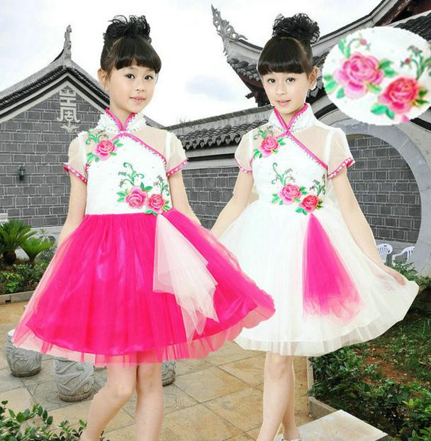 День детей одежда девушка этап танец одежда Танцевальная одежда вышитая пион гучжэн производительности одежда Тан костюм юбка 25