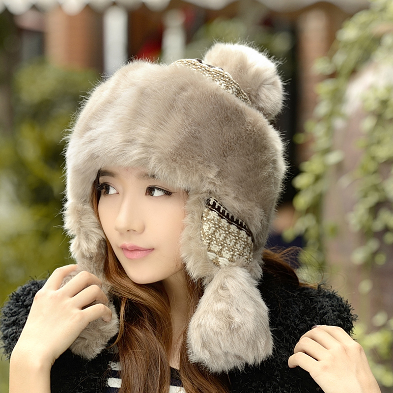3b06a48477b Lei Feng hat men and women Winter Winter Korean tide knitted wool imitation  rabbit fur thick Mongolian hat riding ear protection