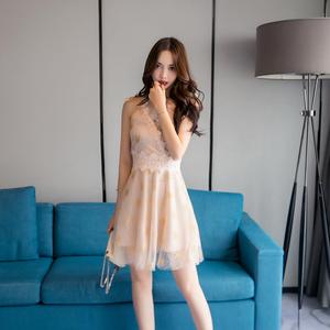 9258#吊带V领高腰显瘦星星印花雪纺裙(有视频)