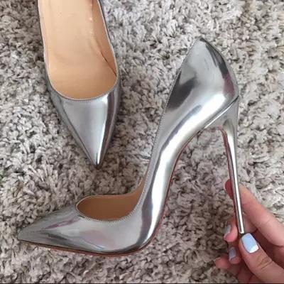 银色高跟鞋女性感12CM超细跟百搭女鞋10CM尖头浅口香槟色夜店单鞋
