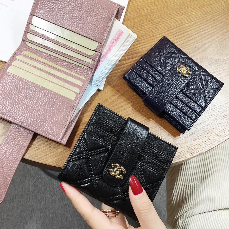 Ví da chính hãng siêu mỏng ví nhỏ nữ ngắn đoạn đơn giản 2019 mới giữ nhiều thẻ thời trang ví mini coin - Ví tiền