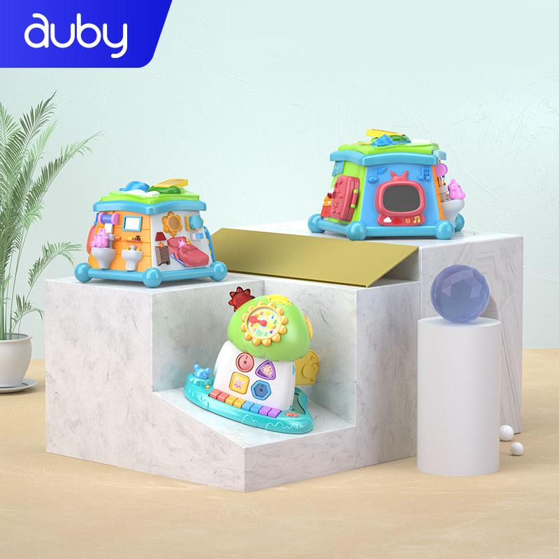 澳贝婴幼儿早教玩具周岁宝宝认知辨识音乐形状配对生活场景多面体