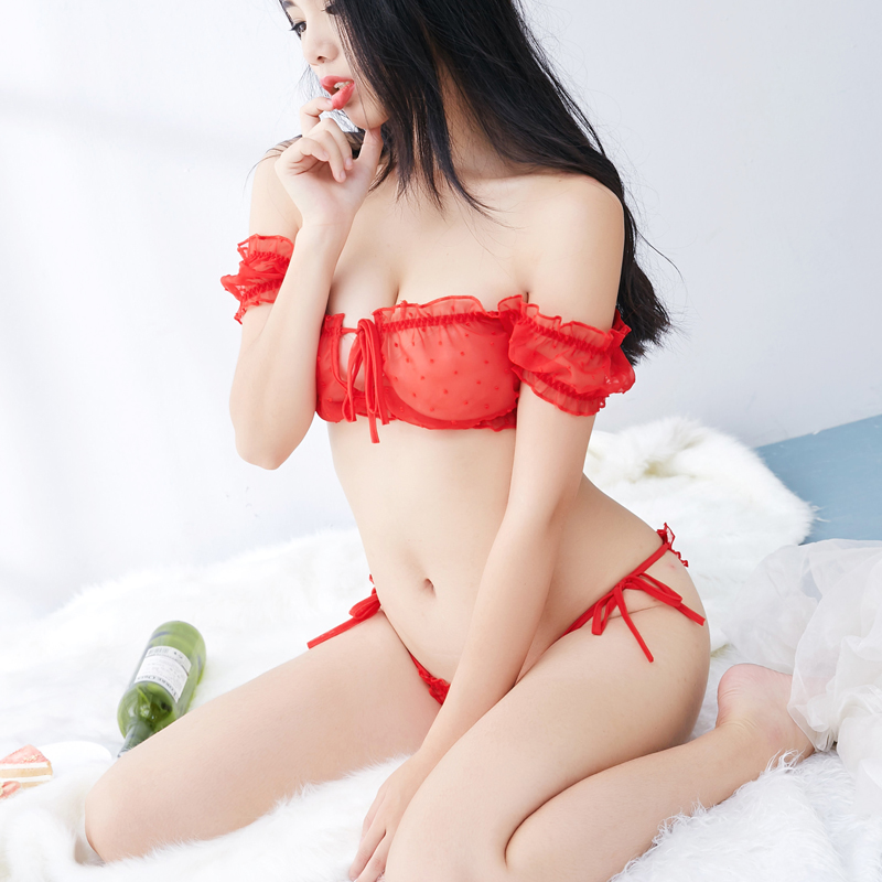 1e338138913e5 Sexy underwear three-point bikini girl style sexy bra set lace transparent  underwear red black ...