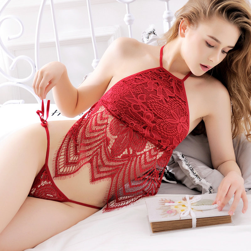 18fa5df02fdb3 Sexy pajamas red hot adult suit female lace transparent retro generation  belly style Court sexy lingerie temptation