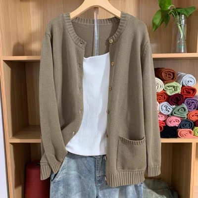 2021 spring new cardigan jacket 100% cotton sweater women's round collar flooring a large size leisure