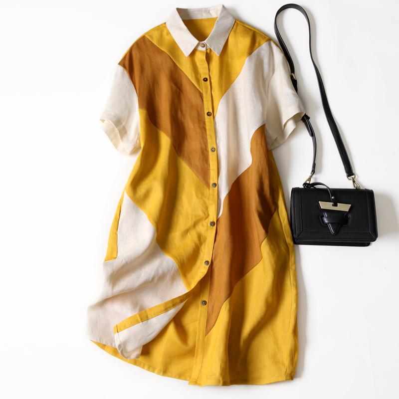 女夏季拼色亚麻连衣裙宽松中长款大牌时尚裙短袖欧美衬衫麻料裙