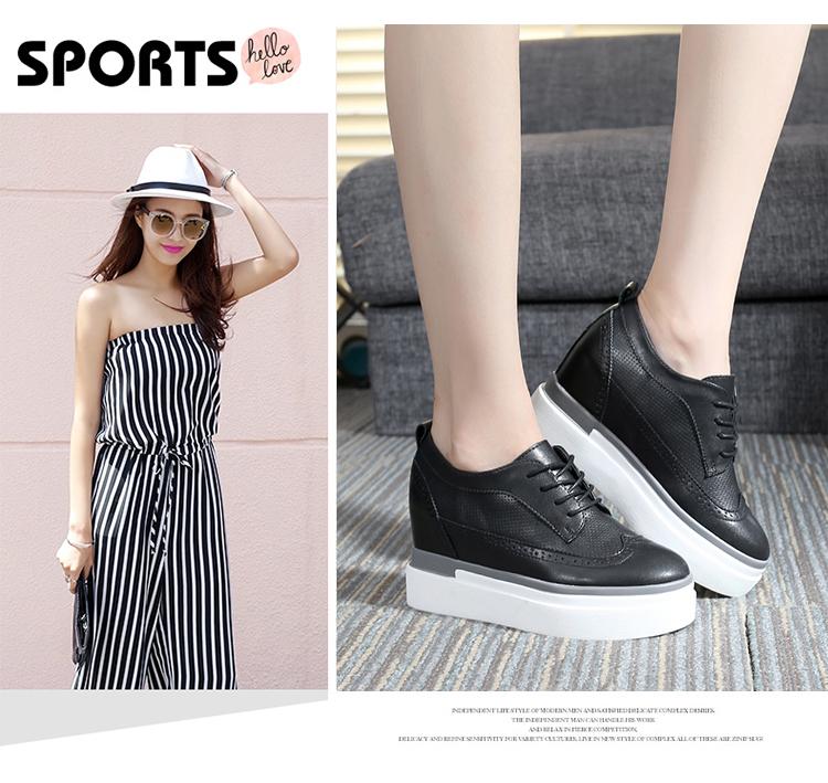รองเท้าผ้าใบส้นหนา แฟชั่นเกาหลีผู้หญิงแบบหนังผูกเชือกใหม่ นำเข้า ไซส์33ถึง43 สีดำ - พรีออเดอร์RB2409 ราคา1800บาท
