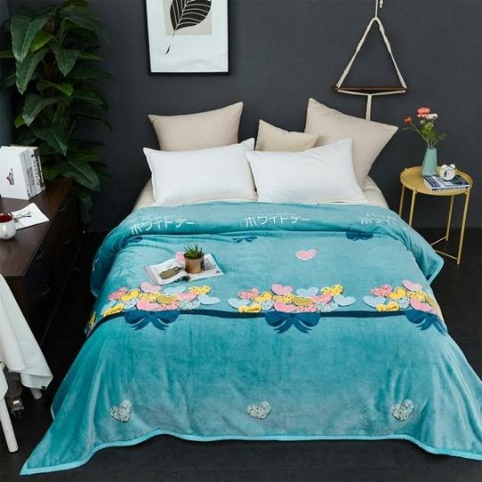 2019新款装饰毯子北欧床单单人午睡加绒法莱绒双人盖毯被子两用