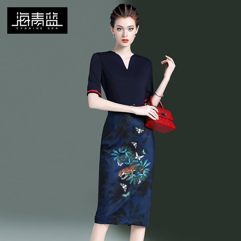 海青蓝印花拜年气质2020春秋季新款复古显瘦修身裙子女装连衣裙