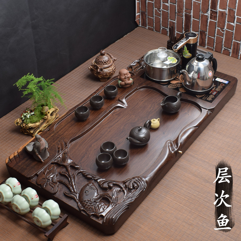 Ebony tea plate with induction cooker all-in-one automatic tea set large household high-grade wood tea sea tea