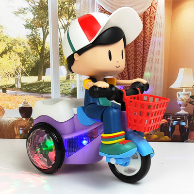 Net red new big stunt tricycle children baby electric toy music light rotating boys girl