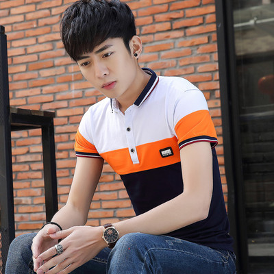 2017 men's summer short sleeve Korean Slim t-shirt youth lapel men's fashion wild shirt tide