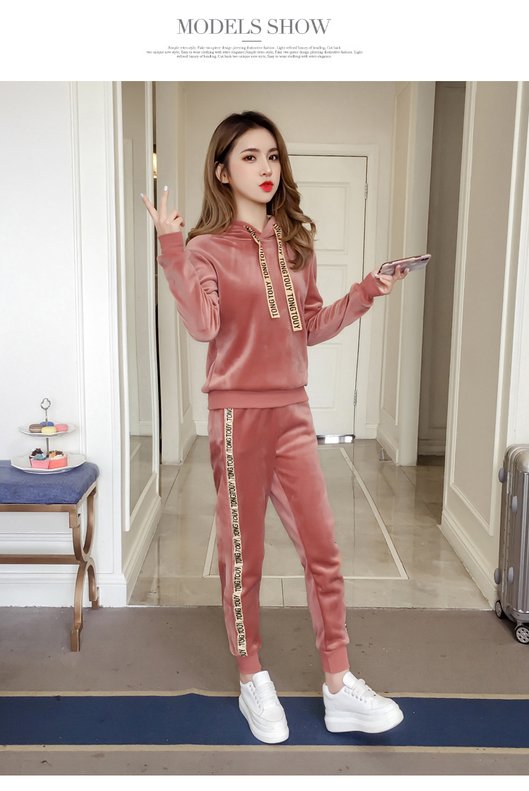 Plus plush plus thick gold velvet sports suit women's 2020 autumn/winter new loose hooded casual wear two-piece set tide 51 Online shopping Bangladesh