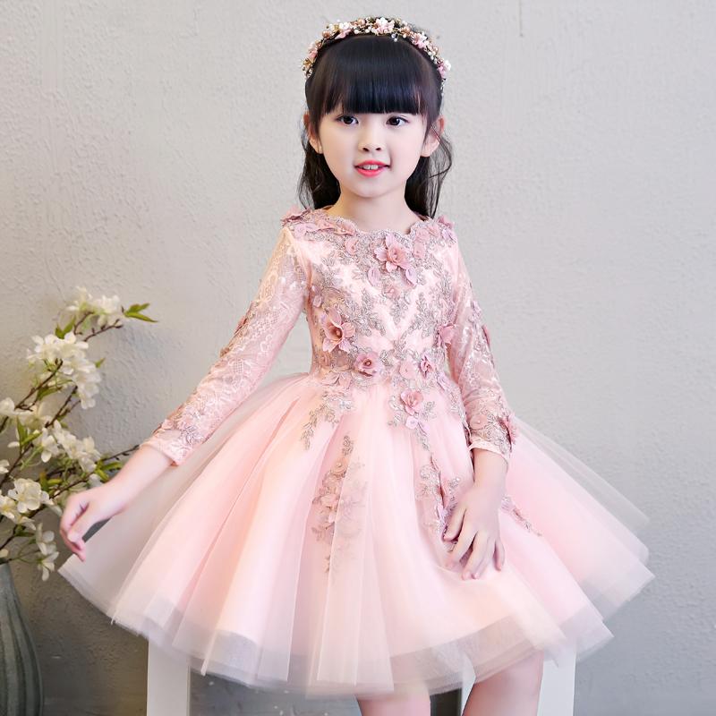女童主持人晚礼服公主裙女孩儿童婚纱花童生日钢琴演出服长袖秋冬