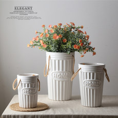 Zakka fresh rural style ceramic flower barrel flower bottle dry flower vase flower flower flower device size white vase