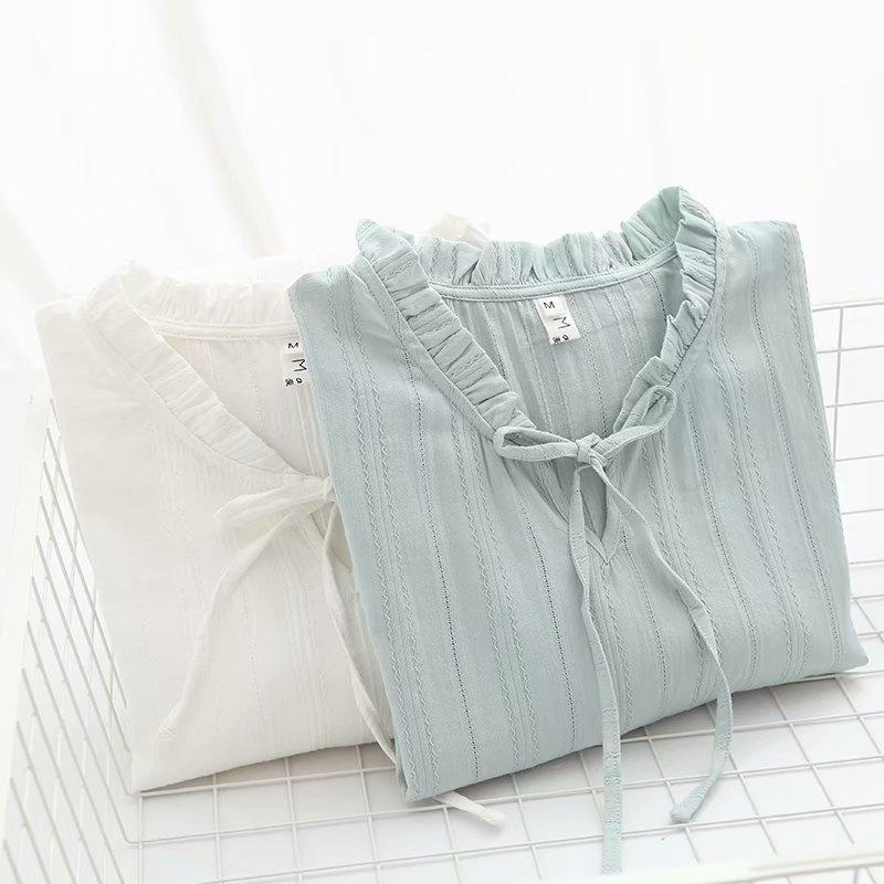 日系森女小清新甜美木耳领系带长袖衬衫女春夏学生衬衣打底衫上衣
