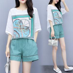 TS15604#女装夏季两件套裤宽松大码上衣配棉麻短裤休闲时尚套装女