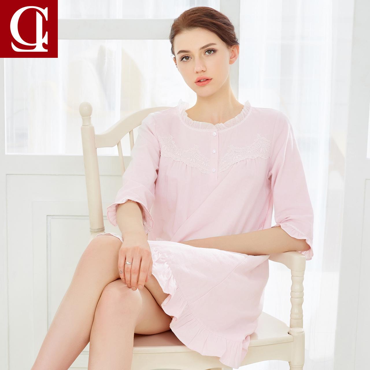 Shi Le Summer Pyjama Lady Cotton Thin Pyjama Ren Cotton Dress Short Tay Nữ Cotton Dịch vụ tại nhà - Đêm đầm