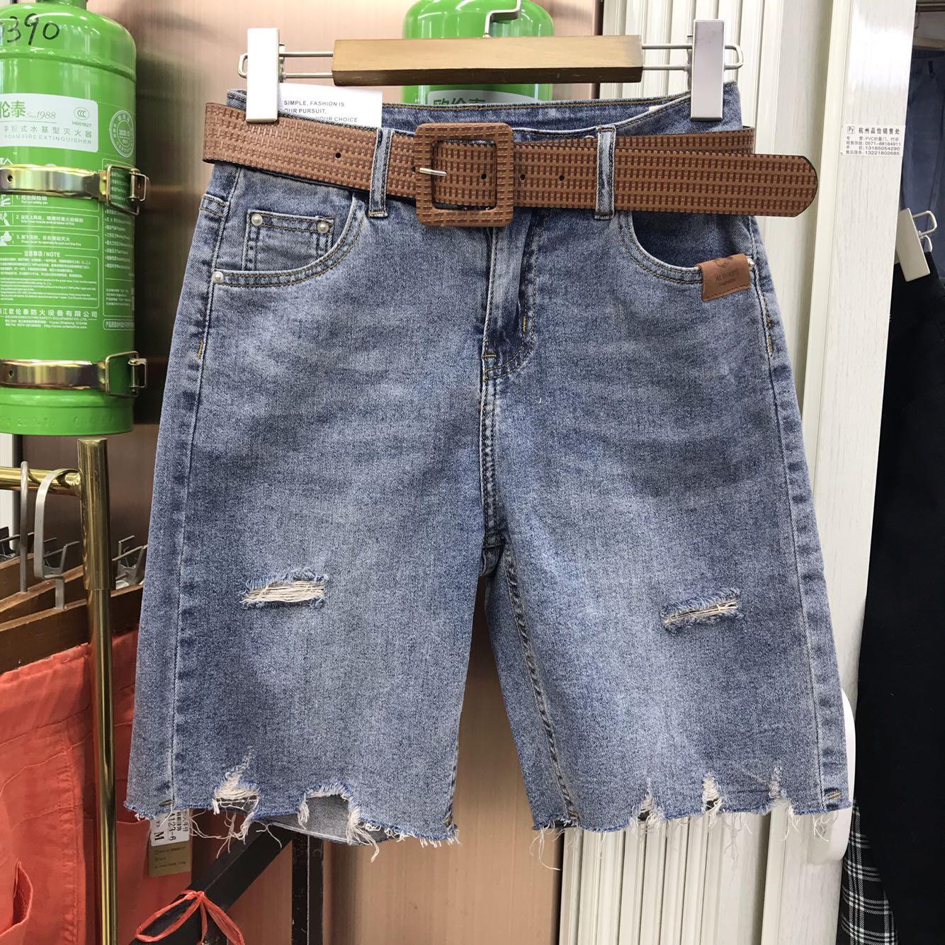 Mùa hè 2020 phong cách cô gái 7836 mỏng và lỏng lẻo mặc quần thun 5 điểm nữ quần jeans - Quần jean
