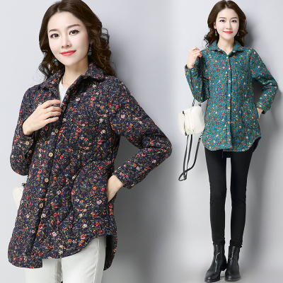 Real autumn and winter ethnic women's clothing printed cotton padded large size shirt long sleeve cotton jacket coat