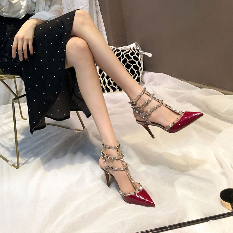 Europe and the United States rivets pointed high heels fine with shallow mouth Liu nail Baotou strap Liu Ding sandals female summer with a single shoe