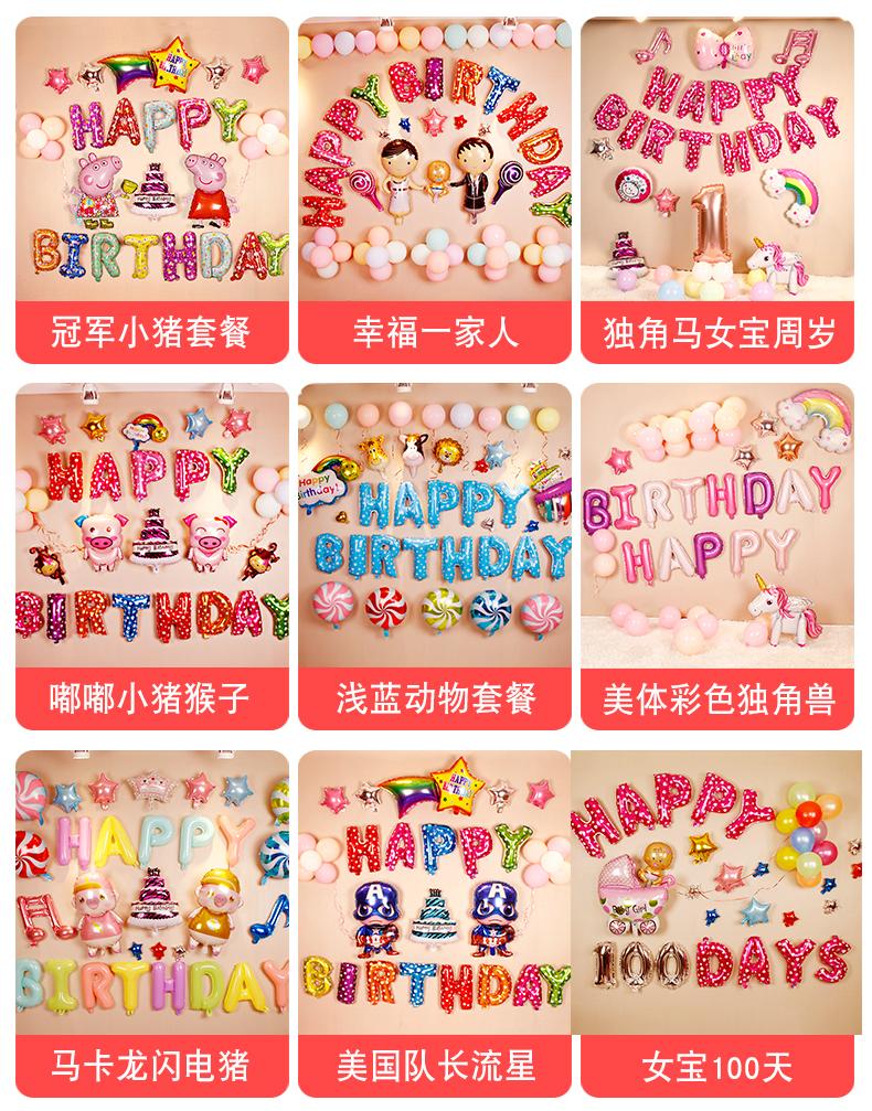 生日气球儿童生日趴体场景布置宝宝一周岁百天派对主题背景墙装饰商品详情图