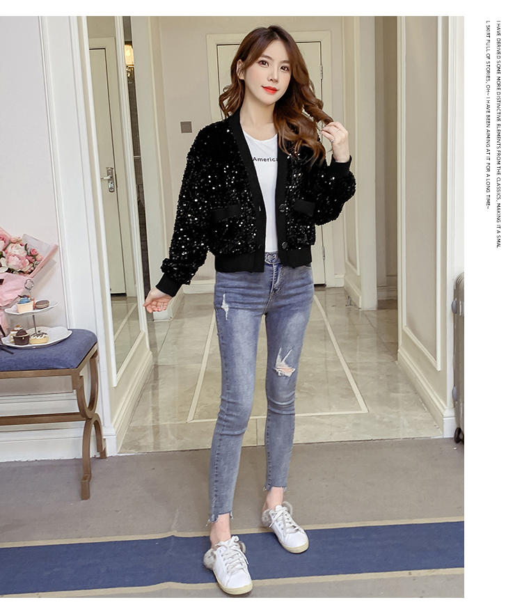 Autumn/Winter 2020 new Korean version of the fashion heavy nail sequin top loose show thin short line button jacket female tide 55 Online shopping Bangladesh
