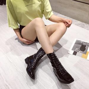 X-23127# 春秋2019新款及裸靴女平底粗跟短筒小跟切尔西靴马丁靴短靴