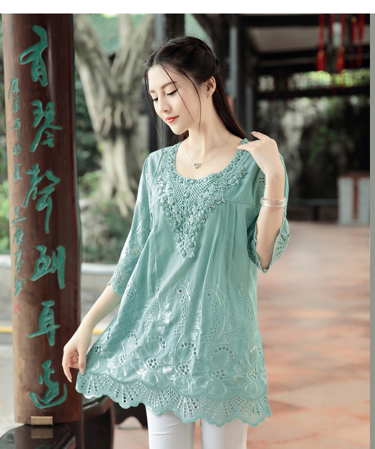 Summer New Retro Chinese Wind Embroidery Women Blouse Hollow Out Round Neck Plus Size Art Blouse Shirt Top Blusas 782F 30 (Us 14-18W)