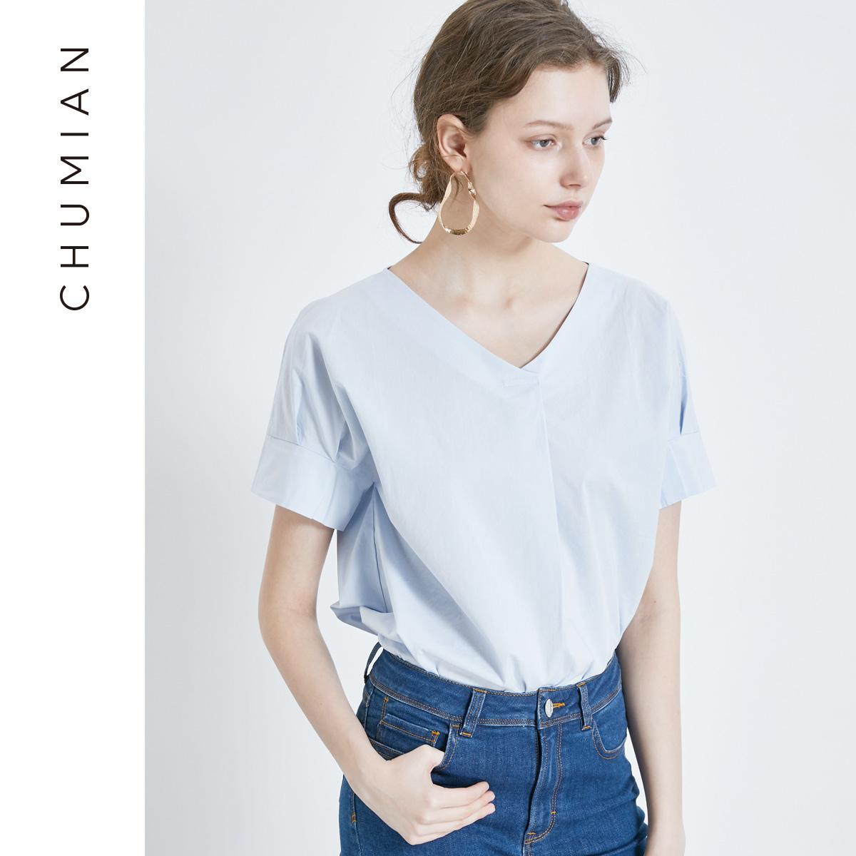 初棉2018夏季新款纯棉V领套头白色衬衫漏锁骨短袖衬衣女夏