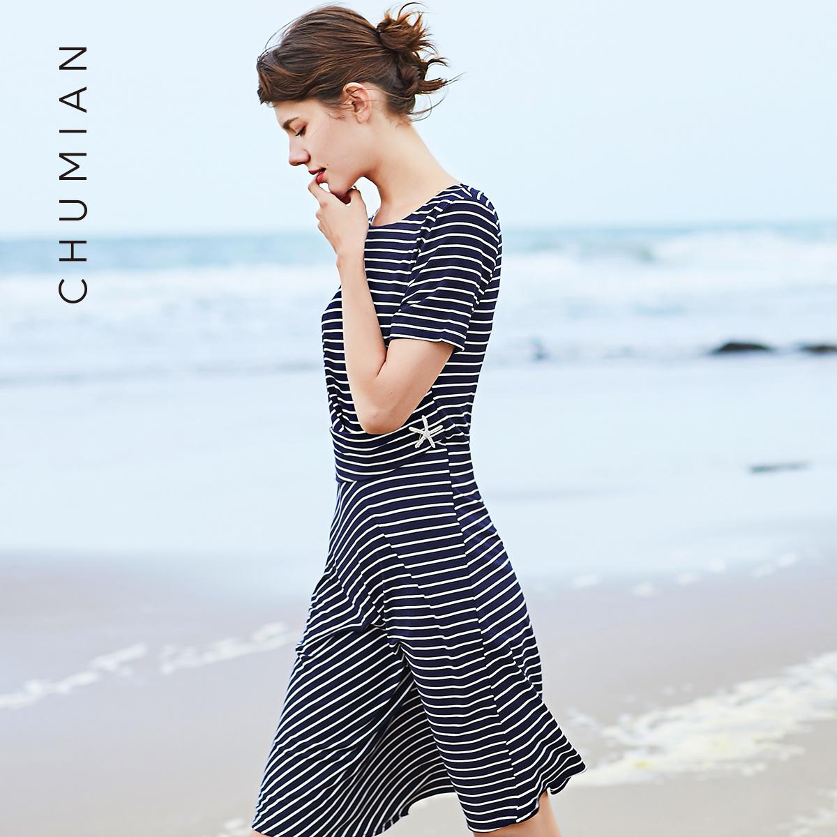 Đầu cotton 2018 mùa hè mới sọc đen và trắng sọc ngắn tay đầm nữ mùa hè sọc trật khớp trong váy dài nữ