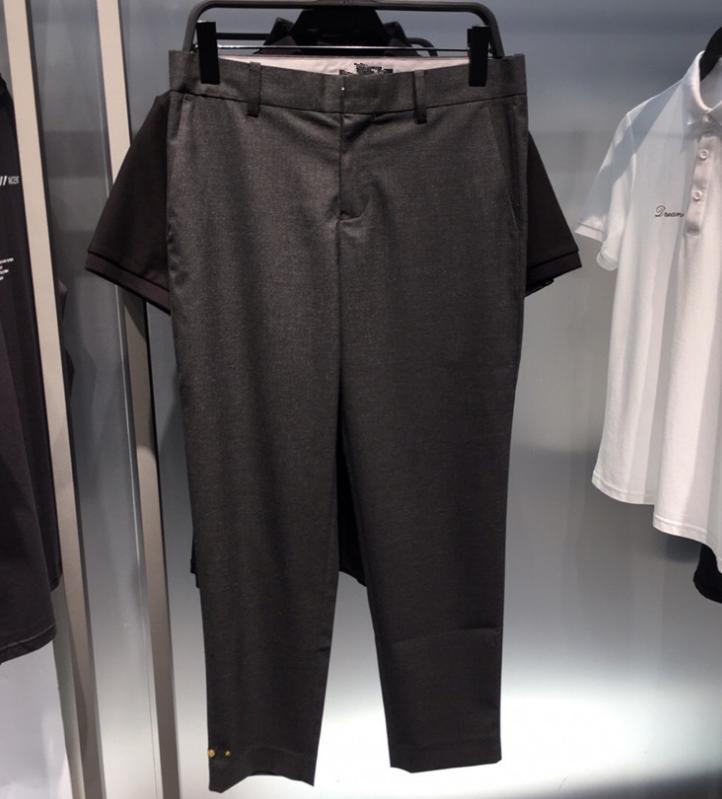 Quần áo chim độc lập thương hiệu quần áo nam 19 mùa thu mới B1GG92434 nam màu xám kinh doanh chín điểm quần thêu chân quần - Quần