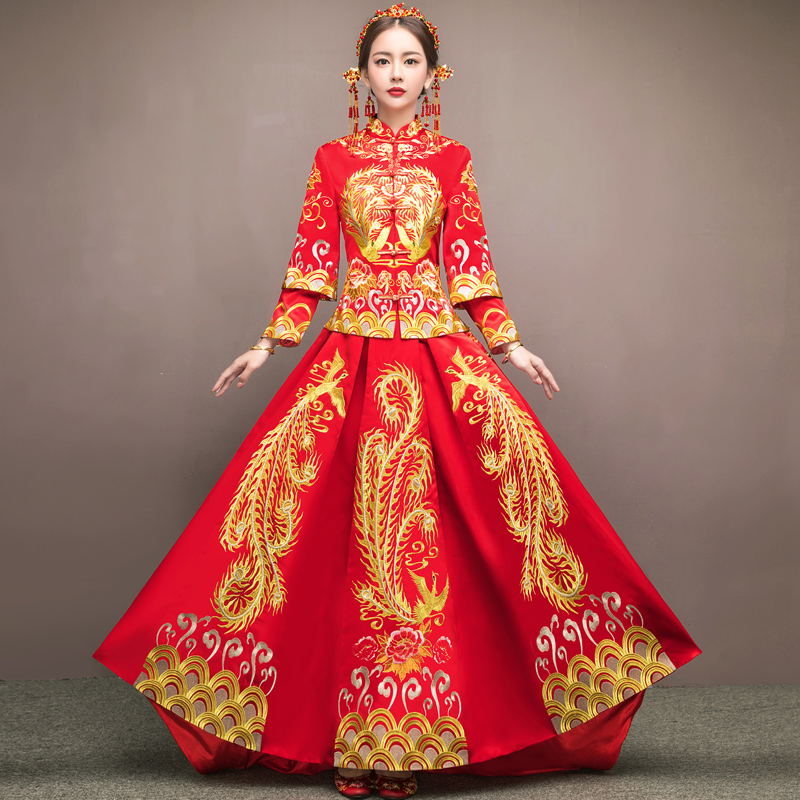Chinese Wedding Dress.Xiu Wo Suit Bride 2018 New Chinese Wedding Wedding Dress Female Toast Large Size Dragon Coat Out Of The Coat Winter