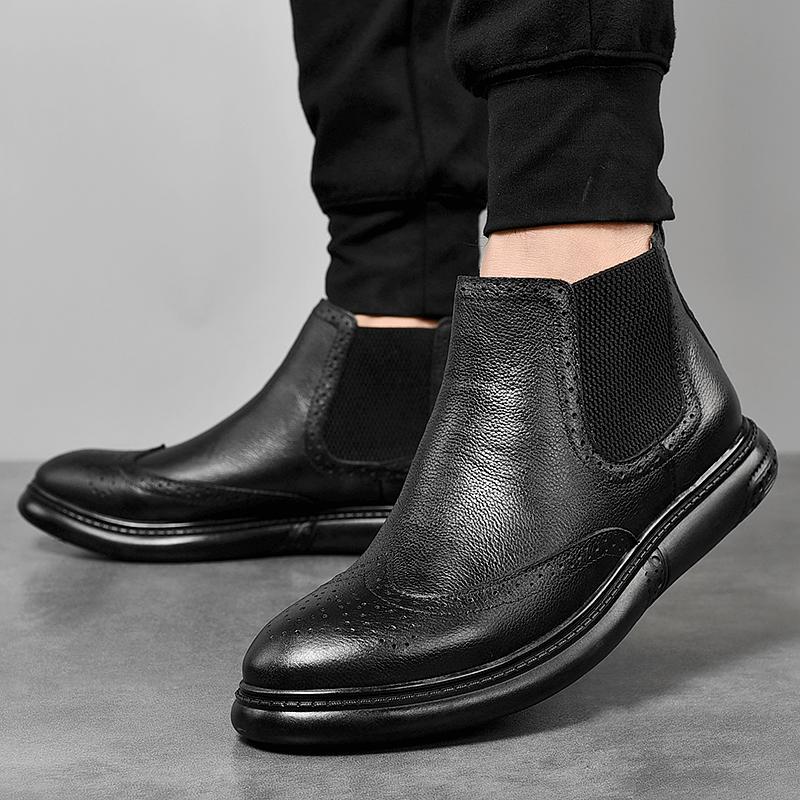 秋冬马丁靴男英伦商务休闲皮鞋真皮布洛克雕花高帮加绒棉鞋靴子潮
