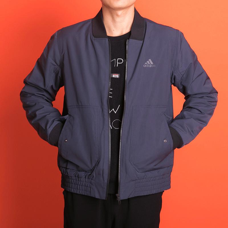 阿迪达斯男装2018冬季新款运动休闲加绒保暖立领夹克外套DT2493