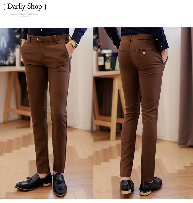 Thanh niên miễn phí ủi quần men trắng mới của Hàn Quốc quần nam chân mỏng quần nhỏ triều thẳng của nam giới quần